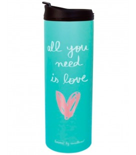 TERMO PARA LIQUIDOS 400 ML ALL YOU NEED IS LOVE DOBLE PARED INOX Y TAP